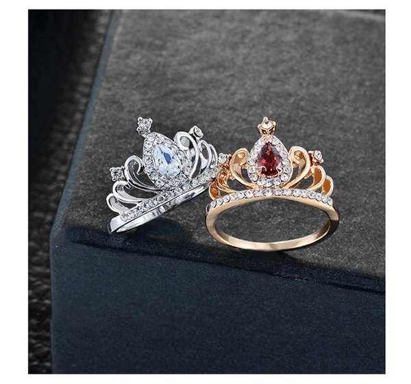2018 New Creative Fashion Jewelry For Women Alloy Electroplated Diamond Jewelry Zircon Ring For Ladies Crown Shape Diamond Ring