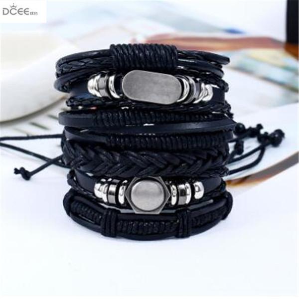 Punk personality 6 pieces of cowhide Bracelet,Antique dermis DIY woven multi layer Bracelet