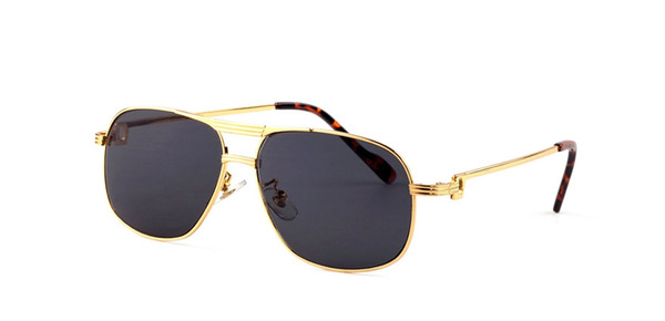 Top quality pilot eyes goggle designer sunglasses gold frame brand buffalo horn glasses men women metal sunglasses for sale