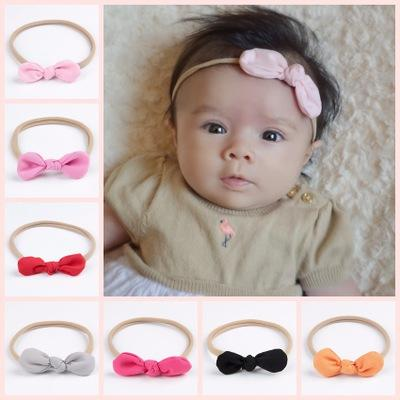 Newborn Baby Headbands Bunny Ear Elastic Headband Children Hair Accessories Kids Cute Hairbands for Girls Nylon Bow Headwear Headdress