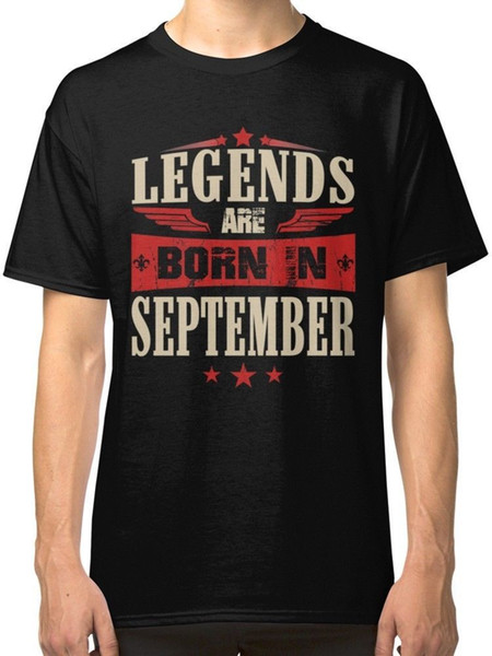 T Shirt Printing O-Neck Legends Are Born In September Men's Black Tees Shirt Clothing Short Sleeve Tall T Shirt For Men