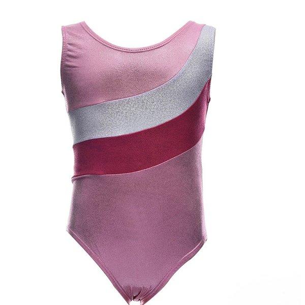 Girls Pink Ballet Dance Leotards Children Spandex Girls Dancewear Shiny Metallic Gymnastics Sport Suits for Kids