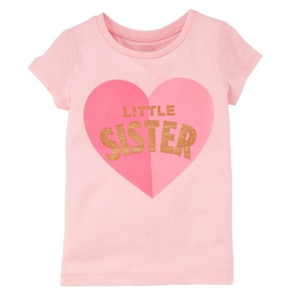 Little Sister Baby Girl Tees Camisetas Summer Newborn Clothes Tops 100% Algodón Ropa para niños Infant Blusa Niños Outfits Heart