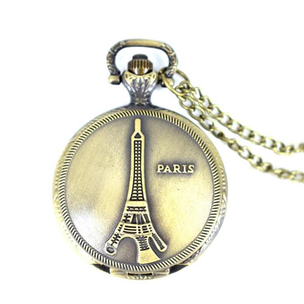 Cindiry mulheres de alta qualidade do vintage romântico bronze mini torre eiffel quartz relógios de bolso pingente de colar relógio cadeia