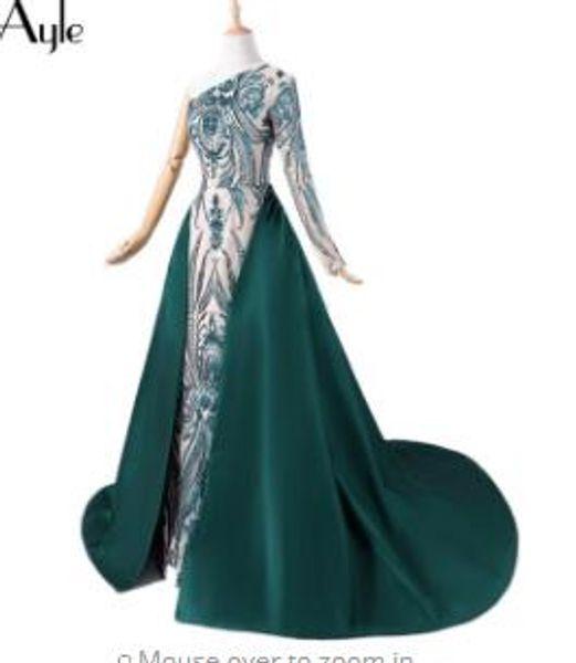 SoAyle 2018 One Shoulder Sequin Lace Dark Green Detachable Train Satin Tail Prom Dresses Vestidos De Festa Formal Dress