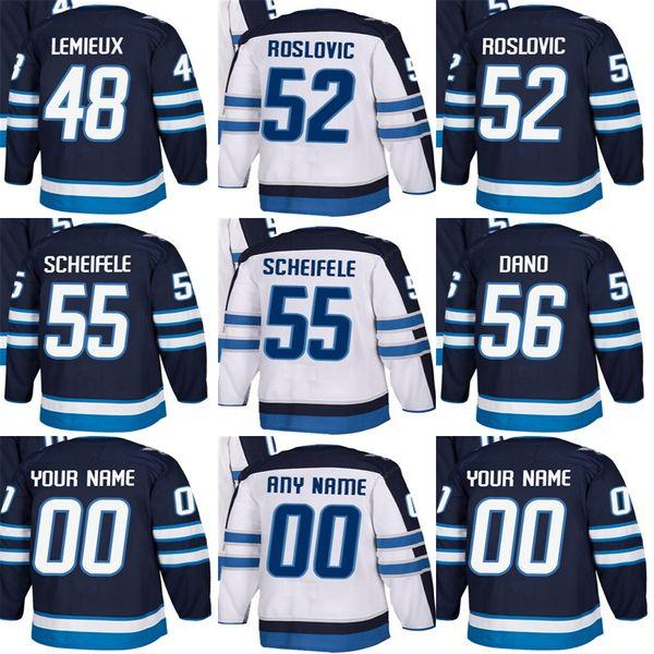 Billige Herren Damen Kids Winnipeg Jets 48 Brendan Lemieux 52 Jack Roslovic 55 Mark Scheifele 56 Marko Dano Stitched Eishockey-Trikots
