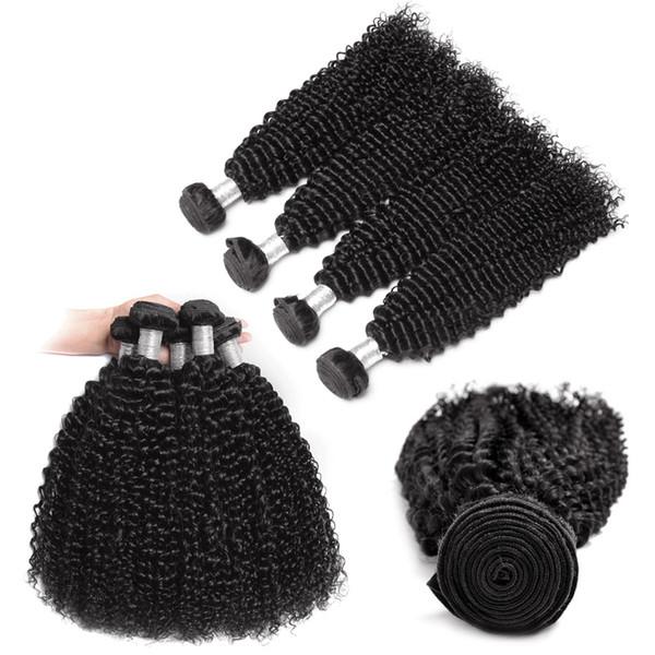 Grade 8A HairExtensionWeft Deep Wave & Kinky Curly 4 PCS Human Hair Bundles Peruvian Malaysian Indian Virgin Hair Extensions