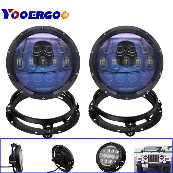 JK Wrangler 7 Inch LED halo Headlights Angel Eyes with bracket For Jeep Wrangler JK CJ DRL & Turn Signal Lights