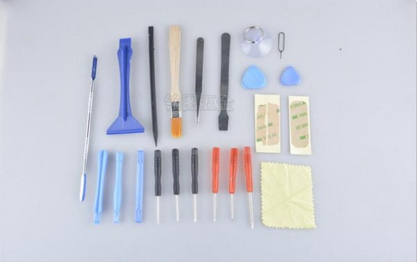 by dhl or fedex 100sets 22 in 1 Open Pry mobile phone accessory bundles Repair Screwdrivers Sucker set Kit For Cell Phone
