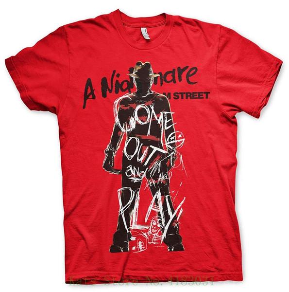 Sous licence officielle Marchandise Nightmare On Elm Street Viens et joue T-shirt (Rouge) T-shirts Design Casual Cool