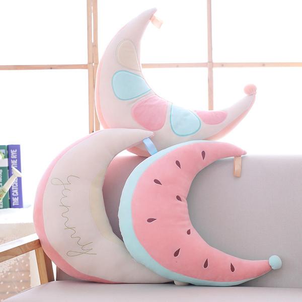 2018 Cartoon watermelon plush toy moon pillow room decoration cushion photography prop girls birthday gifts creative toys custom