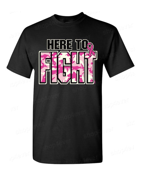"""Womens Breast Cancer Awareness /""""Here to Fight/"""" Black T-Shirt"""
