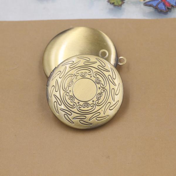 10pcs 31*6mm Antique bronze handmade round photo locket pendant charms jewelry, diy metal fashion picture frame pendants wish box copper