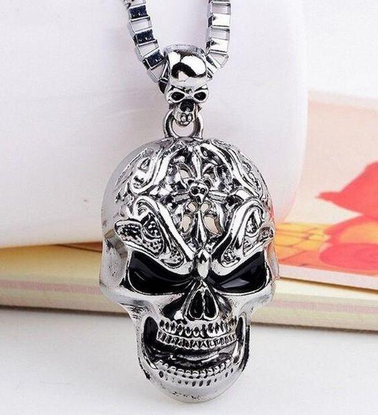 Moda cráneo cabeza colgante collar Suerte Satanismo oculto Metal Vintage estrella de plata collar collar