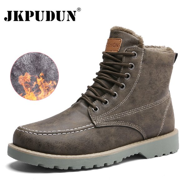 JKPUDUN Vintage Men Boots Lace-Up Winter Leather Martin Boots Men Waterproof Work Tooling Safety Ankle Boots Casual Shoes Botas