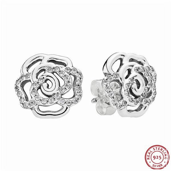 Shimmering Rose Petals Stud Earrings for Women Popular 925 Sterling Silver Jewelry Feature 66 Clear CZ Adding Romance Air FLE035