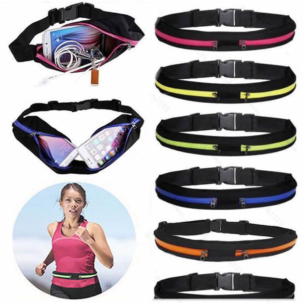 Running Belt Pouch Hiking Jogging Sport Runner Zipper Fanny Pack Waist Bum Bag for iPhone Samsung with Opp Bag
