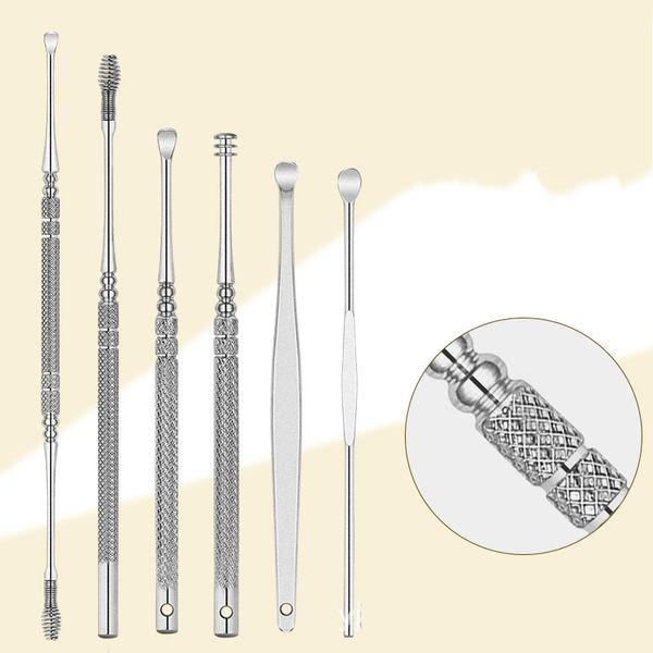 Acero inoxidable Ear Pick Tools Earwax Curette Remover Handle Cleaners Práctico Earpick Spoon Cleaning Cuidado de la salud Easy Carry 5 5hh jj