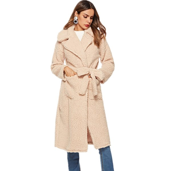 Elegant Faux Fur Coat Women 2018 Winter Thicken Warm Extra Long Plush Jacket Fashion Lapel Pockets Sashes Casual Outerwear Solid C18110901