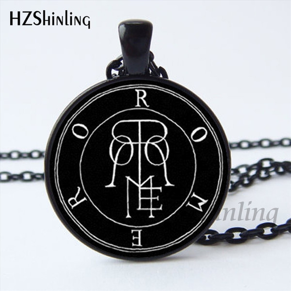NS-00809 Newest Baphomet Pentagram Logo Pendant Necklace Lilith Sigil Seal Chain Necklace Glass Photo cabochon necklace