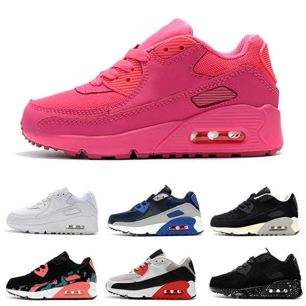 Acheter Nike Air Max 90 Enfants Sneakers Classic 90 Chaussures De Course Black White Sports Formateurs Infant Girl Boy Coussin Surface Respirant