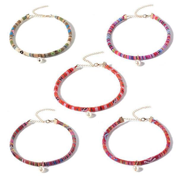 Ganze sale2017 Vintage Boho Choker Halskette Für Frauen Ethnische Nachahmung Perlen Halsband Weiblichen Modeschmuck Frauen Collier Colar 5 teile / satz