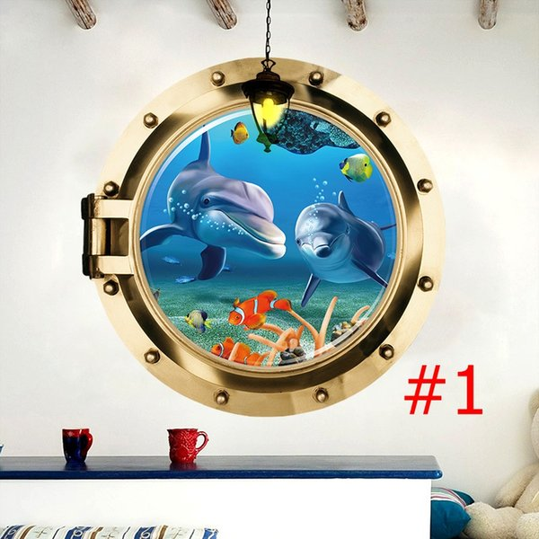 Undersea World 3D Animal Wall Sticker PVC Submarine Style Wall Art for Living Room Bedroom and Kids Room Home Decor