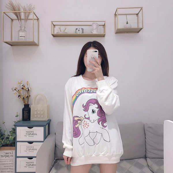 2019 Sweater Animal Print Pattern XXS M New Arrivals White Round Neck  Sweater Ladies Fashion Street Shooting Japanese Pure Wind From Popoog,  $118 83  
