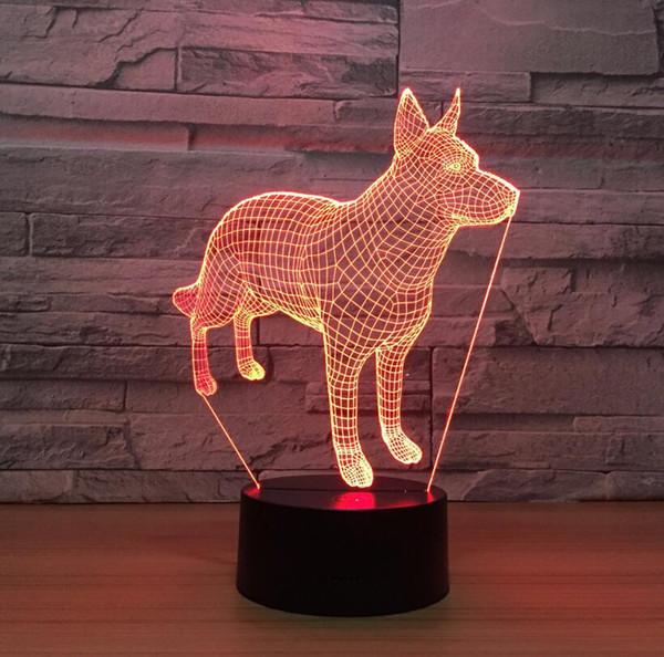 Regalo para niños 3D perros lindos en forma de luz de noche LED 7 colores acrílico lámpara de mesa mesita de noche luz de noche de luna