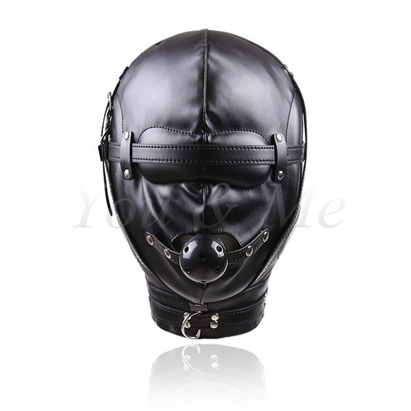 best selling Fetish Bondage Restraint Mask Sex Toys Headgear With Mouth Ball Gag BDSM Erotic PU Leather Hood Adult Games Sex SM For Couples Y18102405