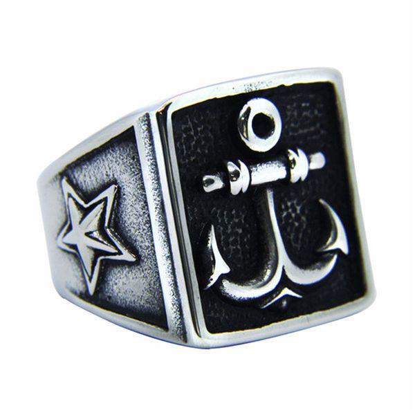 1pc più nuovo anello di ancoraggio della stella 316L acciaio inossidabile popolare moda biker uomini ragazzi anello freddo