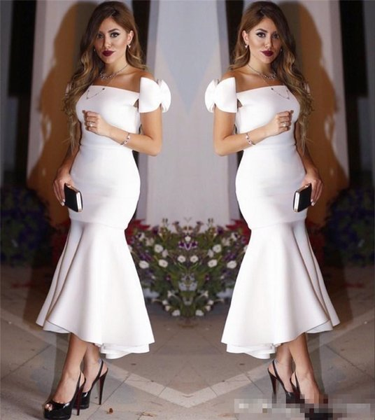 2017 Exquisite Little White Mermaid Evening Dresses Bow Cap Sleeves Pleats Ankle Length Hi Lo Formal Dresses Party Wear Cocktail Gowns