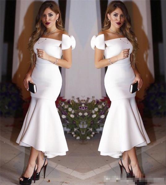 2017 Exquisito Little White Mermaid Vestidos de noche Arco Casquillo Mangas Pliegues Longitud del tobillo Hola Lo Vestidos formales Vestidos de fiesta Vestidos de cóctel