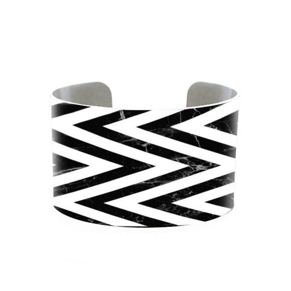 Chevron Cuff, Marble and Chevron Cuff, Mint and Gold Adjustable Metal Custom Printed Bracelet, Doodle Art colorful-funky