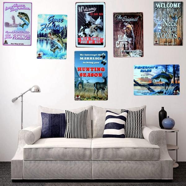 Acheter Chasse Pêche Loup Caverne Métal Peinture Rétro Signes Mur Bar Garage Home Art Décor Cuadros Sticker Mural 30x20cm A 8230 Y18102409 De 13 5 Du