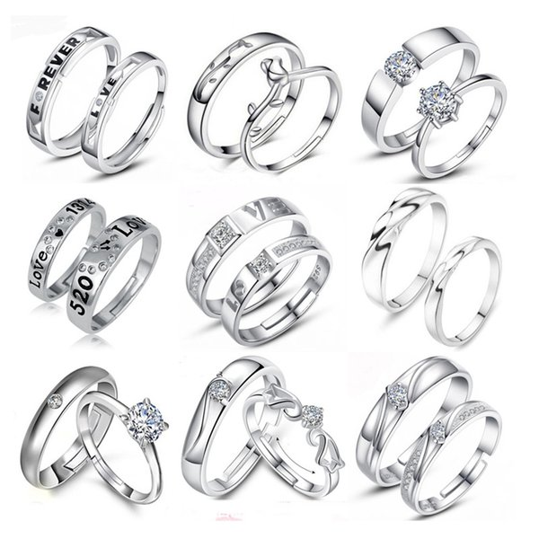 02e25a6d5c Weddings Couple Rings for Men and Women 2016 a Pair Love Silver Plated  Crystal Engagement Ring