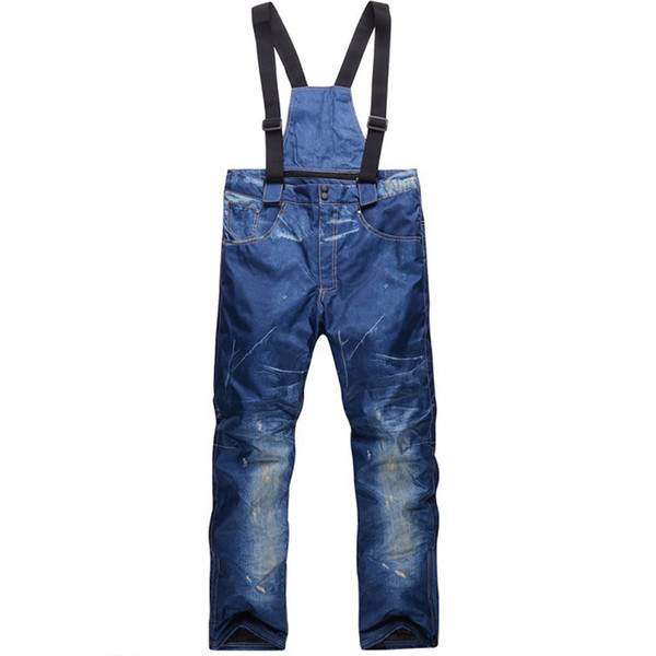 Winter Ski Pants For Men Women Outdoor Snowboarding Denim Trousers Waterproof Thicken Warm Snow Jeans Sports Pants SK02