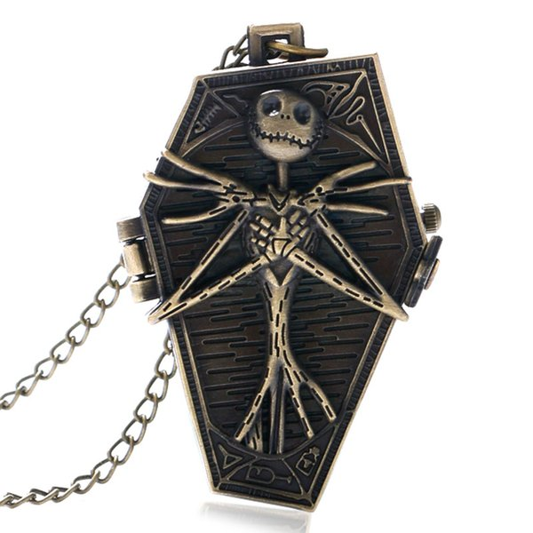 Antique Style Burton Nightmare Before Christmas Bronze Pocket Watch Retro Gift Men Pendant Quartz Gothic Necklace Long Chain