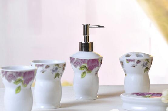 Eco-Friendly 5pcs European Peony Style Ceramic Bathroom Set Tooth Brusher Holder ,Household Wash Brush Cup ,Soap Dishes ,Lotion Bottle