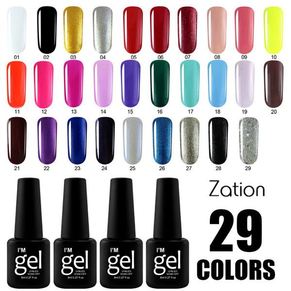 Zation Heißer Verkauf Gel Lack Maniküre 29 Reine Farben Wählen UV Gel Nagellack Hohe Qualität Tränken Bunten UV Lack