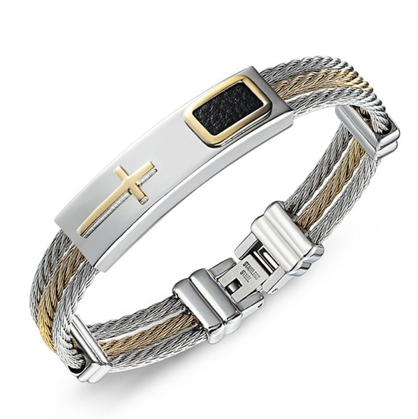 Titanium Steel Bracelet Gold And Ailver Color Interval Three Rows Of Wire Braided Bracelet Crucifix Bracelet For Man Stainless Steel Jewelry