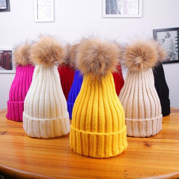 Winter Brand Women Beanies Fur Pom Poms Ball Hat Cap For Girls Hat Knitted Beanies Thick Slouchy Warm Ski Hat Female Skullies Beanies