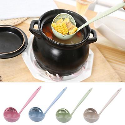 4 colores 2 en 1 de sopa de mango largo cuchara vajilla cocina utensilios de cocina herramienta colador cocina colador cucharón de plástico cuchara gga943 400pcs