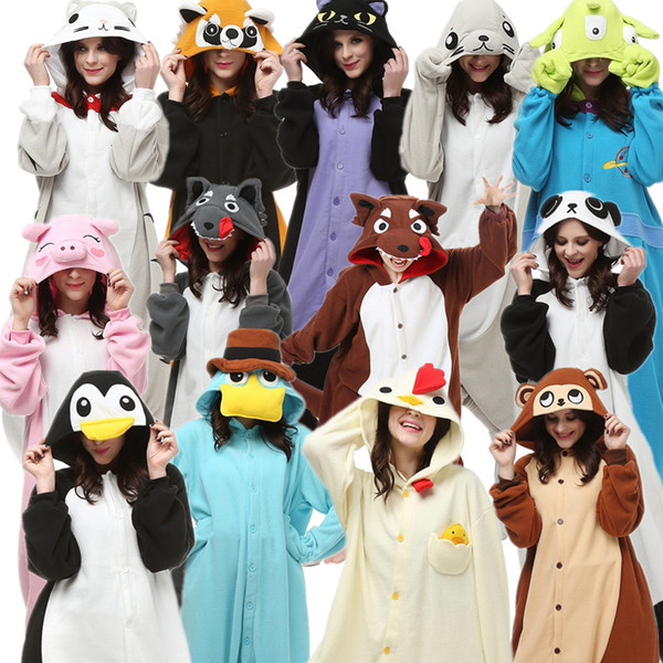 Adult's Animal Costume Cartoon Kigurumi Alien Midnight Cat Monkey Panda Penguin Pig Platypus Raccoon Seal Cock Wolf clothes for Halloween