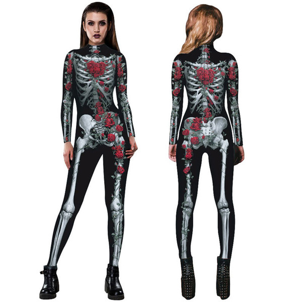 Rose skeleton Halloween Costumes digital print jumpsuit women stage performance costume slim tight pants Halloween cosplay for adults