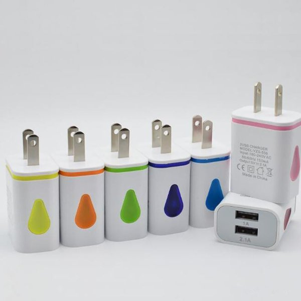 High Quality Water Drop Light Up LED Dual USB Ports Home Adapter AC US EU Plug Wall Charger For Smartphone New Hot