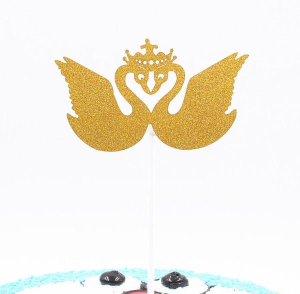 50 pcs Crown Swan Cupcake Bolo Toppers Bandeira Para A Festa de Casamento Aniversary Aniversário Do Chuveiro de Bebê Decorações Suprimentos