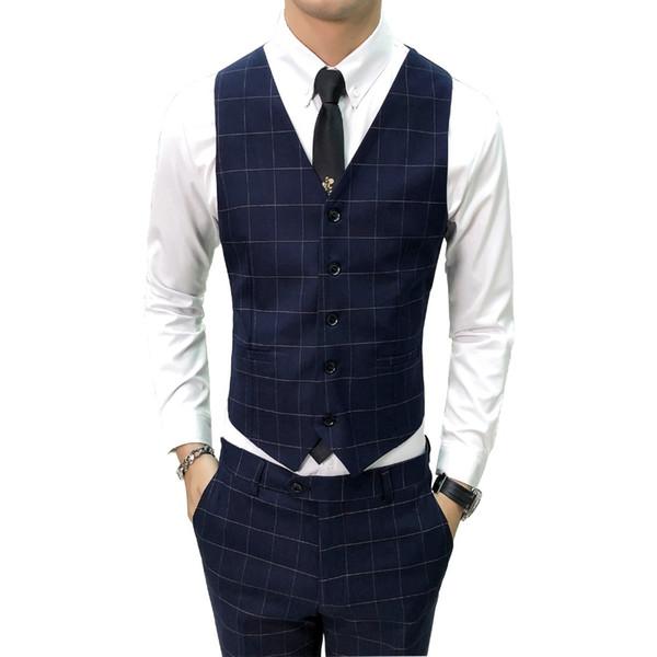 british style vest men fashion 2018 autumn hot sale waistcoat men quality slim fit v neck sleeveless dress formal vest 48-56