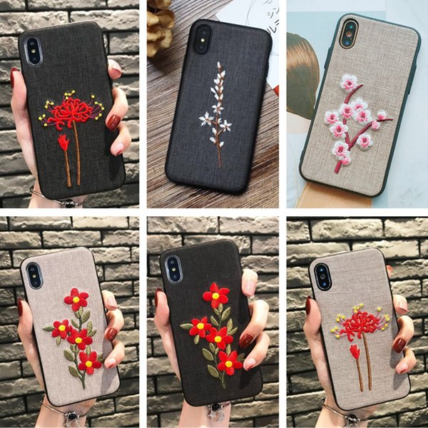 Mobile Shell Case Art Vintage PhoneX876 Embroidery Flowers Cloth protection cover 7/8plus tide female personality Boutique Flowers 181