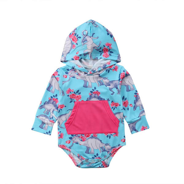 Pudcoco Newborn Baby Girl Floral Hooded Bodysuit Pocket Print Bodysuits Jumpsuit Outfit Clothes